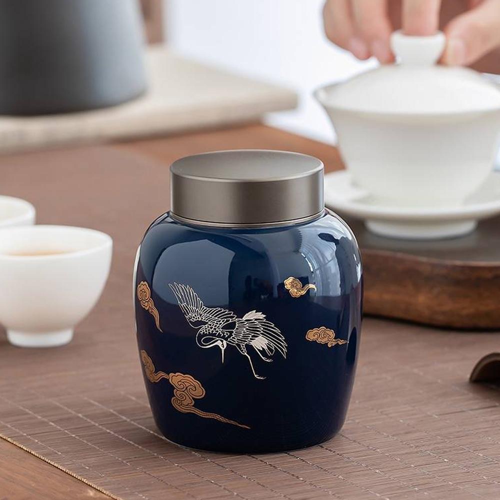 【古緣居】霽藍合金蓋陶瓷密封茶葉罐儲物罐(三款任選)