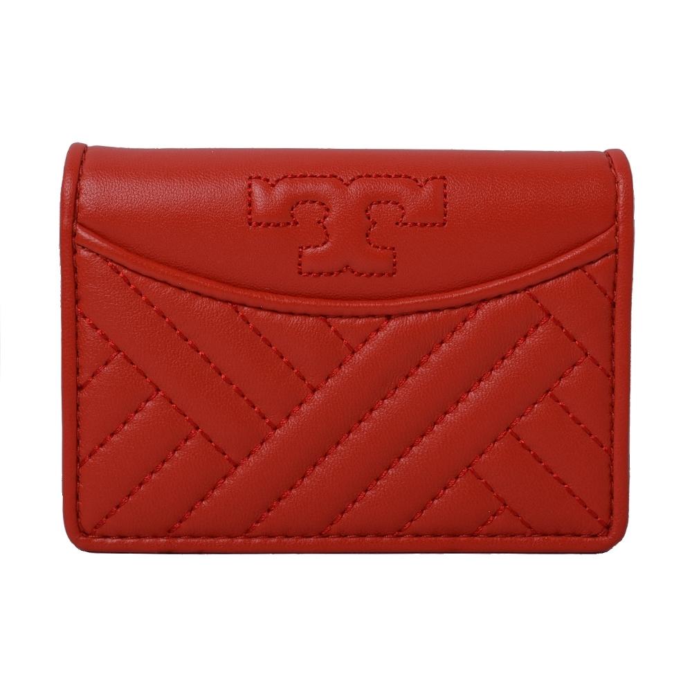 TORY BURCH ALEXA 菱格壓紋釦式全皮革零錢包-熱情紅