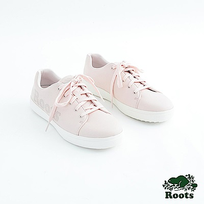 Roots女鞋- 經典皮革綁帶鞋-粉