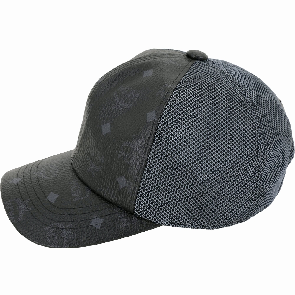 MCM Visetos 印花塗層帆布拼接網眼棒球帽(黑色)