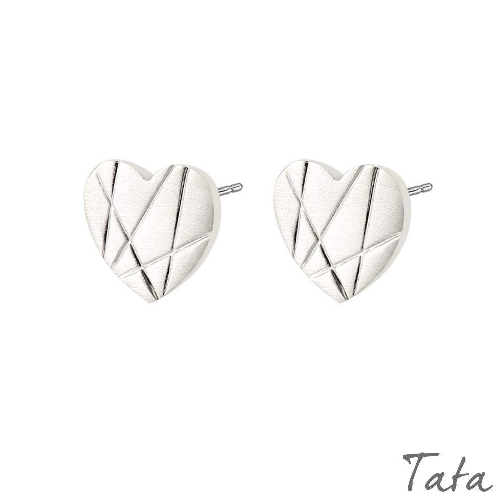 愛心幾何線條耳環 共二色 TATA product image 1