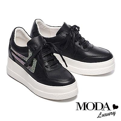 休閒鞋 MODA Luxury 璀璨V字水鑽造型全真皮綁帶厚底休閒鞋-黑