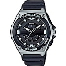 CASIO經典簡約立體三針三眼指針休閒錶-黑面x銀框(MWC-100H-1)/46.7m