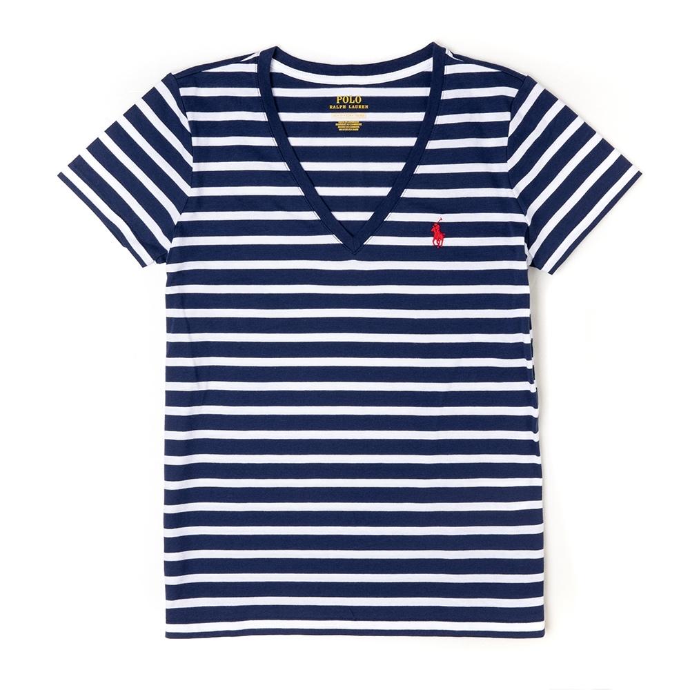 Polo Ralph Lauren 經典小馬V領條紋短袖T恤(女)-藍白色