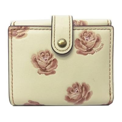COACH 牛皮花卉釦式多卡夾零錢袋短夾(花卉膚/米白)