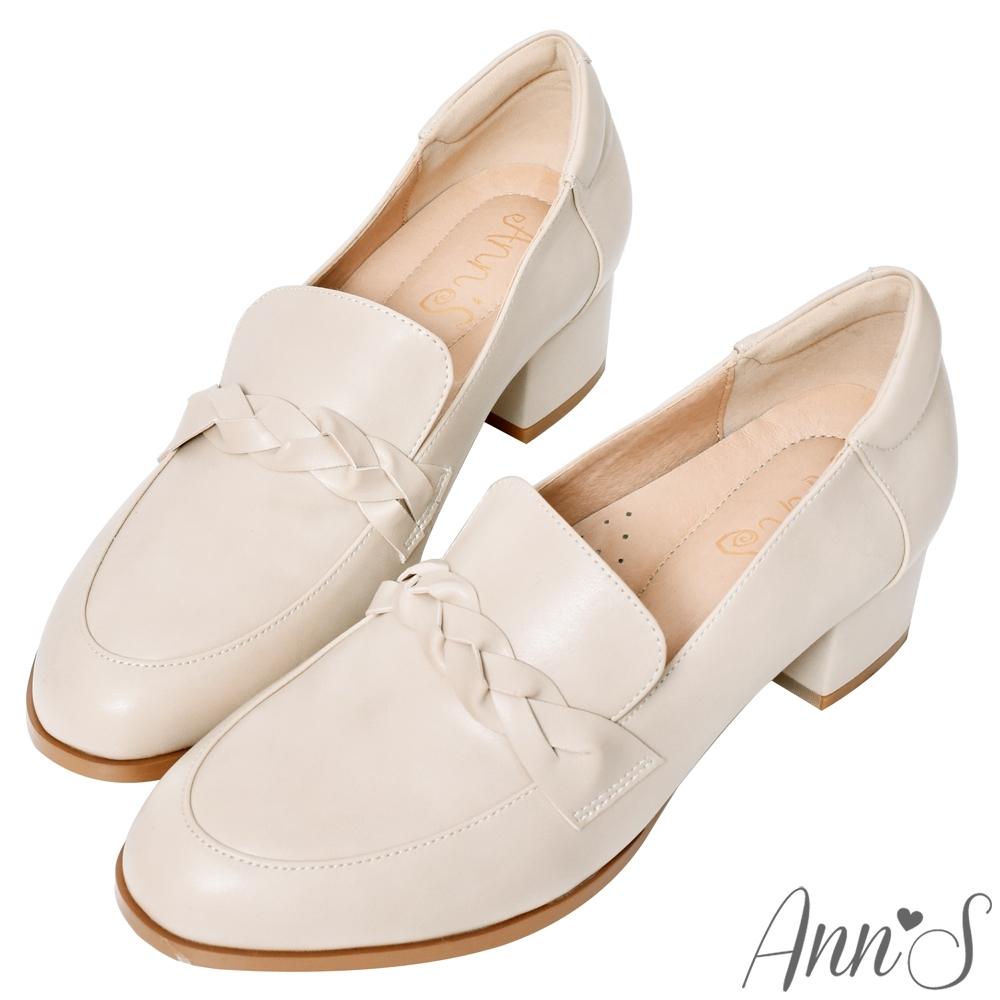 Ann'S學院立體編織麻花粗跟紳士鞋-米白