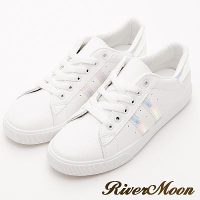 River&Moon休閒鞋- 亮眼活力螢光綁帶運動休閒鞋-藍彩
