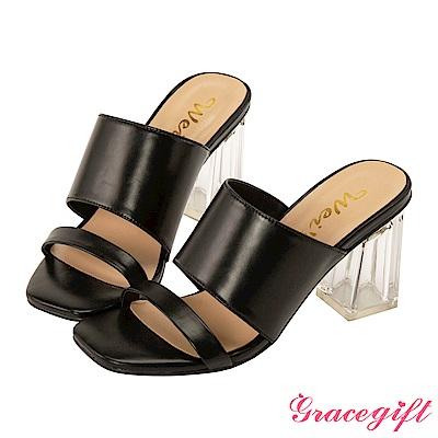 Grace gift X Wei-聯名素面寬帶透明高跟涼鞋 黑