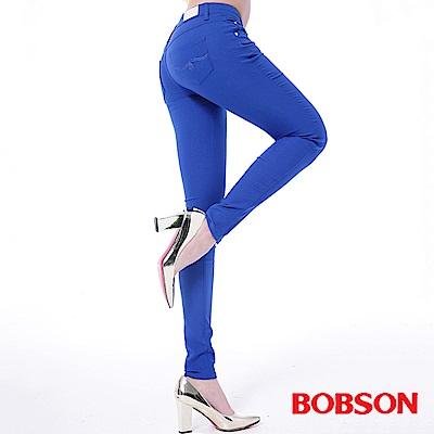 BOBSON 女款低腰彩色涼爽紗緊身褲-藍色