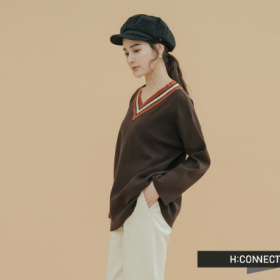 H:CONNECT 韓國品牌 女裝-撞色V領針織上衣-棕