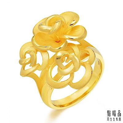 點睛品 足金玫瑰花時尚婚嫁黃金戒指(港圍13)_計價黃金