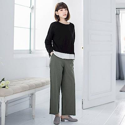 高含棉假兩件式拼接下襬袖開衩造型上衣-OB嚴選