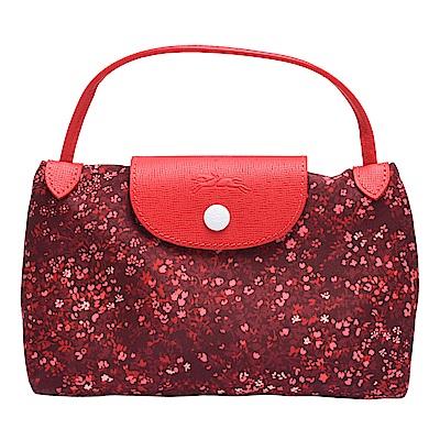 LONGCHAMP Le Pliage Collection小碎花圖案手拿/斜背包(紅色)
