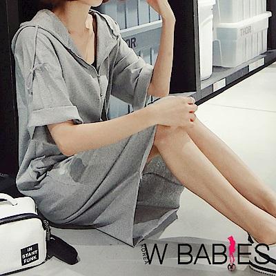 正韓 連帽拉鍊V領短袖洋裝 (共二色)-W BABIES