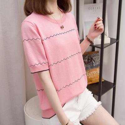 2F韓衣-簡約波浪條紋點綴造型上衣-2色(XL-3L)