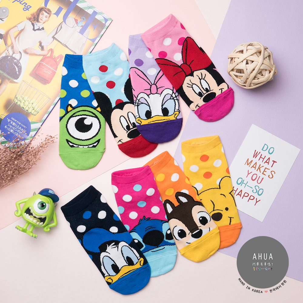 阿華有事嗎 韓國襪子 迪士尼繽粉點點短襪  韓妞必備卡通襪 正韓百搭純棉襪