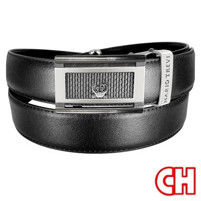 CH-BELT超細緻皮紋紳士自動扣休閒皮帶腰帶(黑)