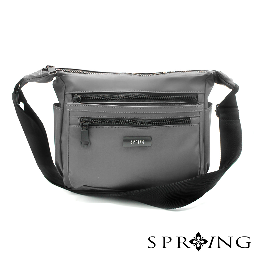 SPRING-微光澤輕量側背包-古銅灰
