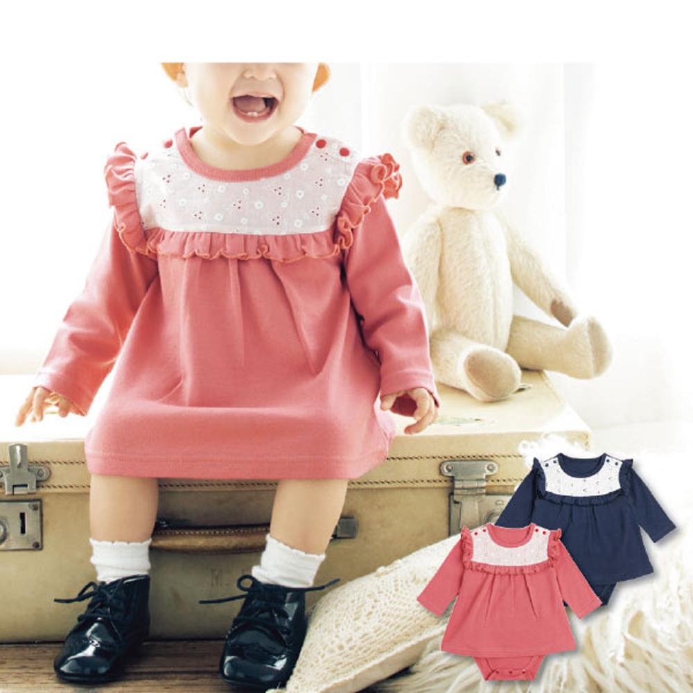 日本雜誌款-可愛蕾絲小荷葉長袖包屁小洋裝(橘粉/深藍可選)