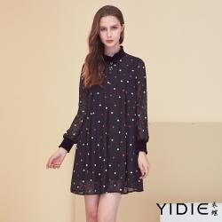 【YIDIE衣蝶】幾何圖型星星鑽飾短洋裝