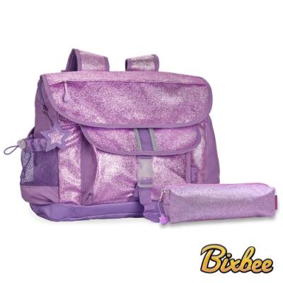 美國Bixbee - 閃采系列夢幻紫大童輕量舒壓背書包筆袋超值組