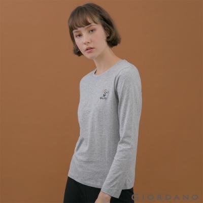GIORDANO  女裝小清新刺繡長袖T恤 - 61 中花灰