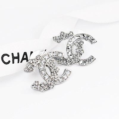 CHANEL香奈兒 經典銀色雙C不規則水鑽耳環(大)