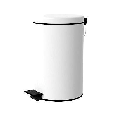 TRENY 加厚 緩降 不鏽鋼垃圾桶 12L (白)