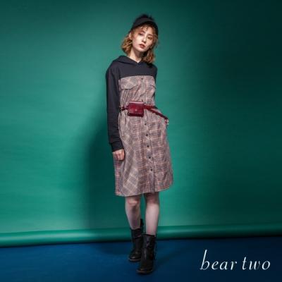 beartwo-假兩件式格紋連帽洋裝-藍