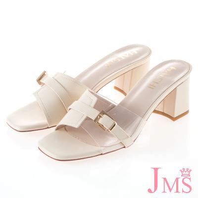 JMS-皮質拼接透明帶搭釦中跟涼拖鞋-米色