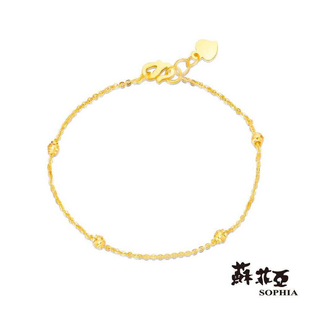 蘇菲亞SOPHIA - G LOVER系列優雅雕花黃金手鍊(四珠版)
