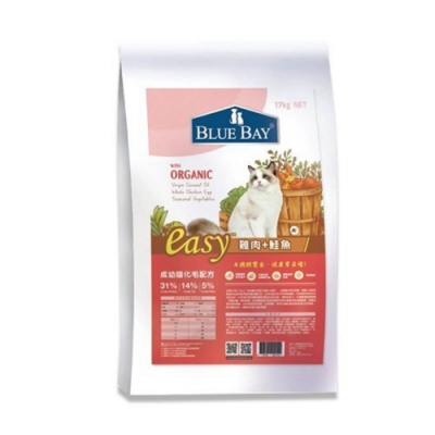 BLUE BAY EASY倍力輕鬆食全護貓糧刻-成幼貓化毛配方-雞肉+鮭魚 17kg