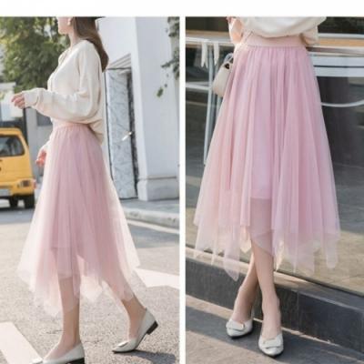 La Belleza素色鬆緊腰下擺不規則雪紡網紗裙