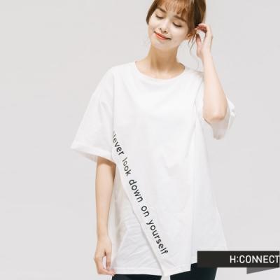 H:CONNECT 韓國品牌 女裝 -不規則設計標語T-shirt-白