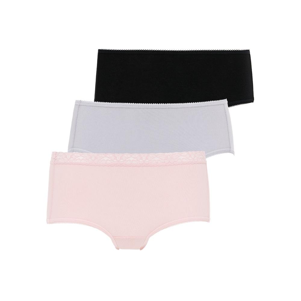 黛安芬-單品褲系列 日間中腰生理褲三件包 M-EL 繽紛三色
