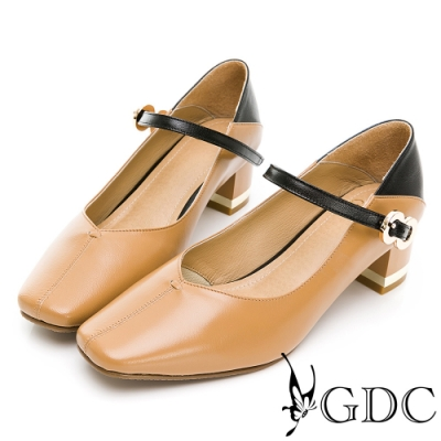 GDC-真皮典雅撞色方頭低跟上班鞋-駝色