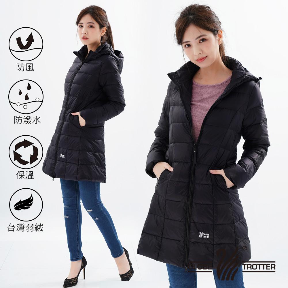 【遊遍天下】女款長版顯瘦防風防潑禦寒羽絨外套22020黑色