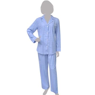 RALPH LAUREN 藍色純棉格紋長袖睡衣/家居服組-M/L號