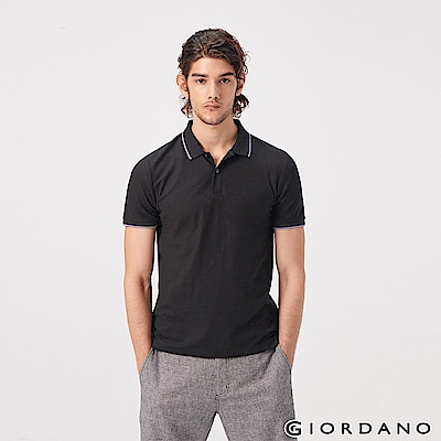 GIORDANO 男裝經典素色短袖POLO衫-09 標誌黑