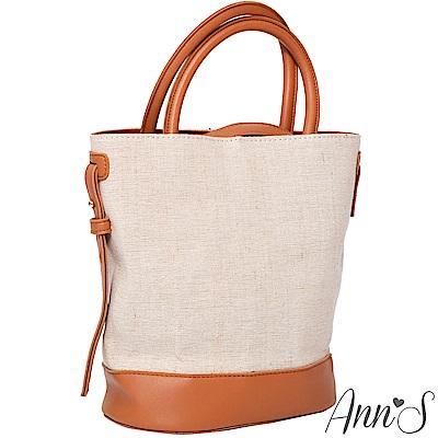 Ann'S文青森林系-拼接帆布手提肩背2WAY水桶包-棕