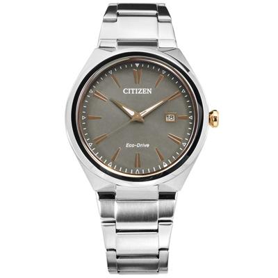 CITIZEN 星辰表 光動能礦石強化玻璃日期日本機芯不鏽鋼手錶-灰色/41mm