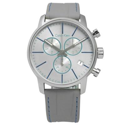 CK 紳士高端奢華三環日期皮革腕錶-藍灰x灰/43mm