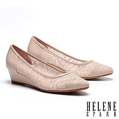 高跟鞋 HELENE SPARK 浪漫優雅蕾絲紗網布尖頭楔型高跟鞋-米