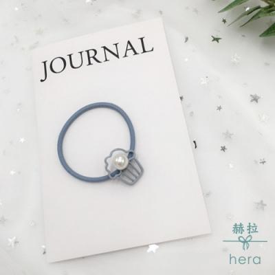 Hera 赫拉 -小清新灰藍珍珠造型髮圈-2入隨機