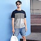 高含棉色塊拼接條紋設計短袖上衣-OB大尺碼