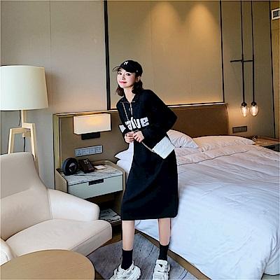 DABI 韓國學院風長T字母寬鬆休閒顯瘦學生長袖洋裝