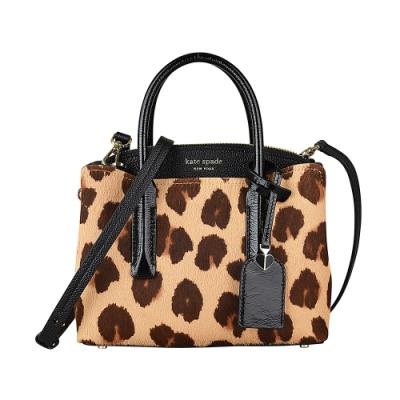 Kate Spade Margaux燙金LOGO單面豹紋設計牛皮拉鍊手提斜背包(小/咖啡)