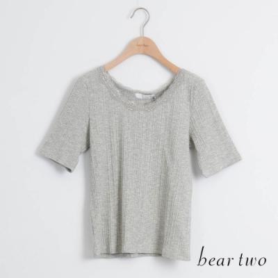 beartwo- 圓領蕾絲純色上衣-灰