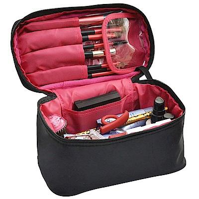 Leslie多功能手提拉鍊化妝包 彩妝保養品收納 眼影粉餅刷具唇膏收納 行李箱