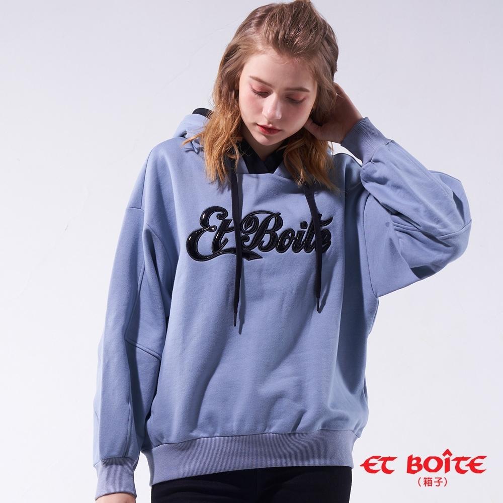 箱子 BLUE WAY -LOGO印繡花連帽TEE(藍)